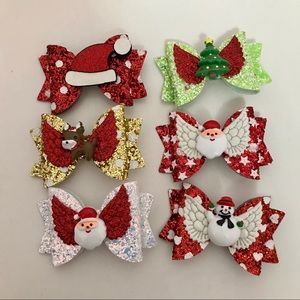 Christmas Sparkly Cute Hair Clip Bows